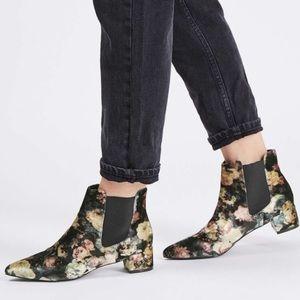 Topshop Krazy velvet Floral Ankle Boot size 8.5